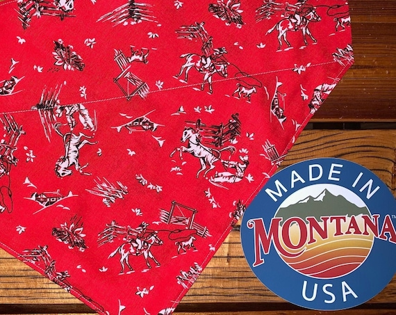 Rodeo Pet Bandana, Over the Collar, Pet Photo Prop, Cowboy Dog, Cowgirl Dog, Fun Pet Gift, Made in Montana Assistedly by Special Olympians