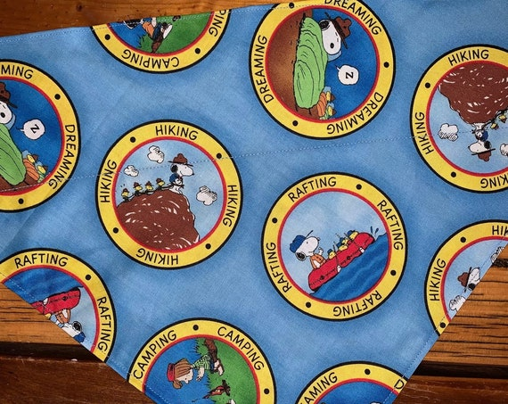 Snoopy Pet Bandana,  Collar Slides Thru, Outdoorsy Pet Gift, Made in Montana Assistedly by Special Olympic Athletes!