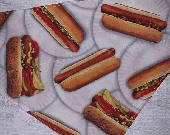 Hot Dog Pet Bandana, Halloween Hot Dog Costume, Weiner Dog Bandana, Collar Slips Thru, Ready to Ship, Made in Montana, Free Shipping!
