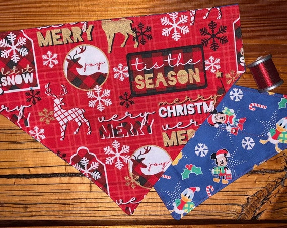 Mickey & Lumberjack REVERSIBLE Pet Bandana, Christmas Stocking Stuffer, Dog or Cat, Assistedly Made in Montana by Special Olympians