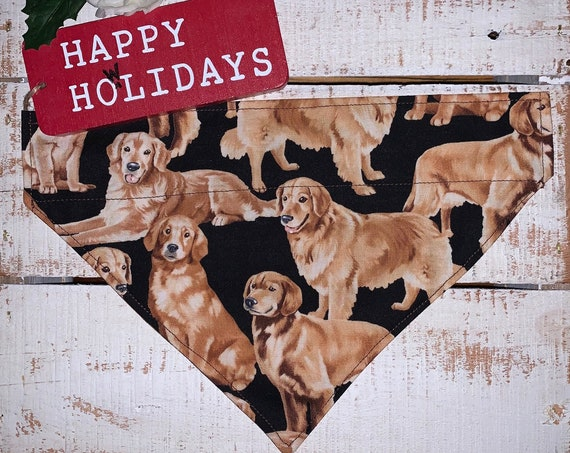 Golden Retriever Pet Bandana, Collar Slips Thru, Service Dog, Guide Dog, Therapy Dog, ESA, PTSD, Christmas Gift, Stocking, Made in Montana