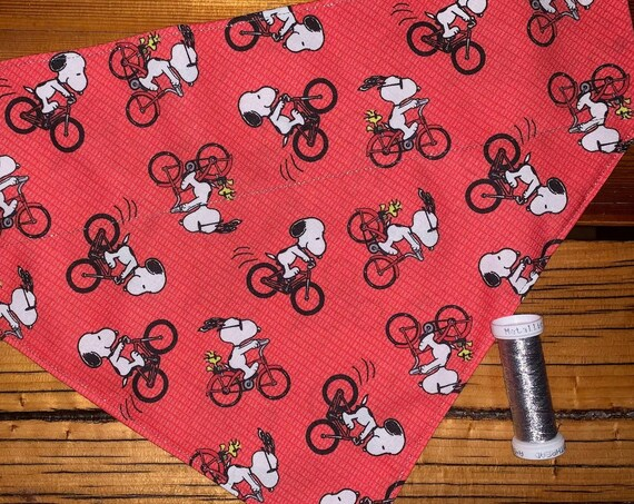 Cycling Snoopy Pet Bandana, Collar Slides Thru, Ready to Ship, Gift for Dog or Cat, Made in Montana Assistedly by Special Olympic Athletes!