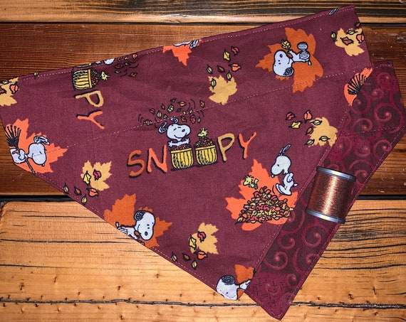 Reversible Snoopy Pet Bandana, Assistedly Produced by Special Olympic Athletes, Autumn Leaves, Thanksgiving Photos, Collar Slips Inside