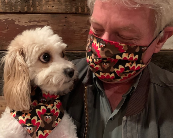 Combo Mask Pet Bandana, Collar Slips Thru, Dog Cat Bandana, Matchy-Matchy, Made in Montana Assistedly by Special Olympians, Ready to Ship!