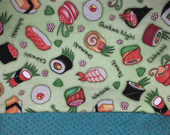 Reversible Sushi Mask, Washable, Quiltshop Fabrics, Assistedly Made in Montana by Special Olympians =)