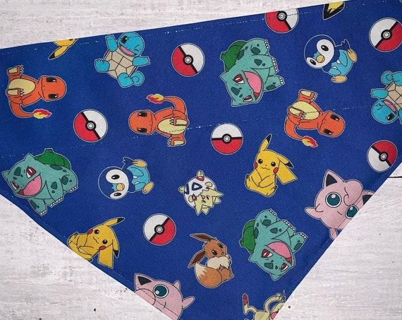 Pokemon Pet Bandana, Holographic Thread, for Dog Cat Ferret Guinea Pig, Collar Slips Thru, Free Shipping, Made in Montana, Ready to Ship!