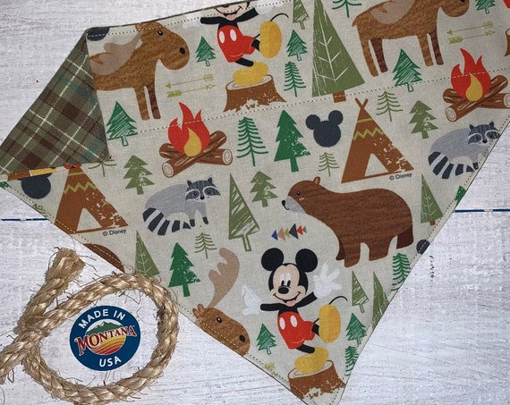 Reversible Mickey Pet Bandana, Collar Slides Thru, Gift for Dog Cat, Ready to Ship, Made in Montana Assistedly by Special Olympic Athletes