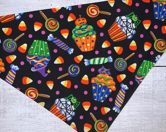 Halloween Candy Pet Bandana, Fits Over Collar, for Dog Cat Rabbit Ferret Guinea Pig, Trick or Treat, Pet Costume, Ready to Ship