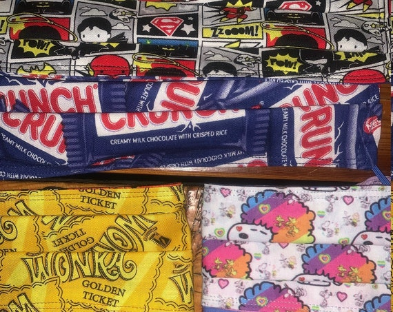 Clearance Reversible Face Mask, Teacher, Student, Willy Wonka Golden Ticket Fabric, Made in Montana, Assistedly Sewn by Special Olympians