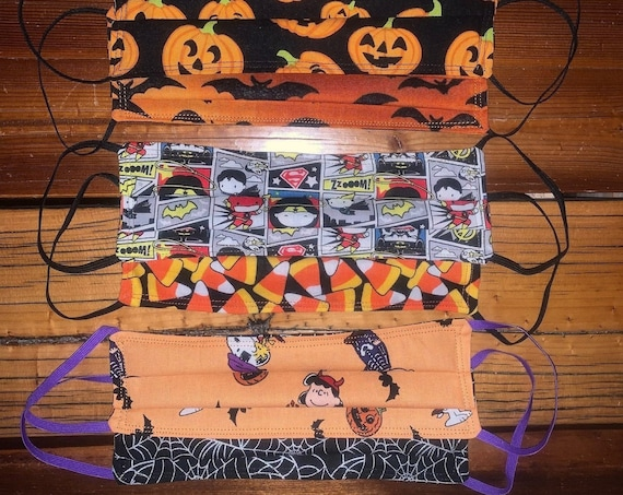 Clearance Reversible Mask, Teenager, Adult, Teacher, Student, DC Comics, Candy Corn, Snoopy Charlie Brown, Metallic SpiderWebs, Montana Made