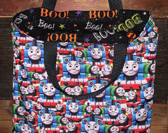 Thomas Trick or Treat Tote, Book Bag, Reusable Lunch Sack, Kids Tote Bag, Gift for Train Fan, Ready to Ship, Made in Montana, Free Shipping!