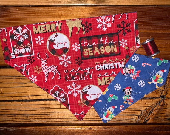 Mickey Mouse & Lumberjack REVERSIBLE Pet Bandana, Christmas Stocking Stuffer, Dog or Cat, Assistedly Made in Montana by Special Olympians