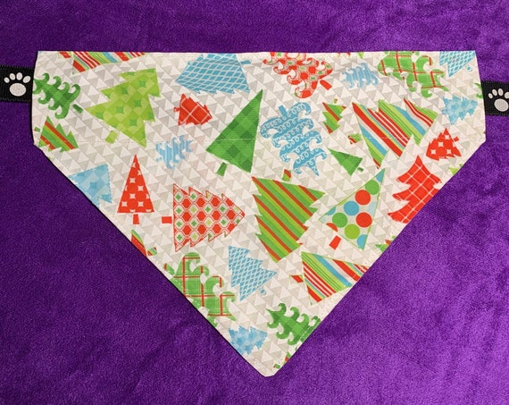 Happy Trees Pet Bandana, Collar Slips Inside, Christmas Gift, Stocking Stuffer, Dog or Pup, Assistedly Made in Montana by Special Olympians