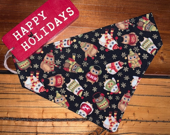 Winter Owls Pet Bandana, Metallic Gold, for Dog or Cat, Collar Slides In, Christmas, Stocking Stuffer, Assistedly Made by Special Olympians