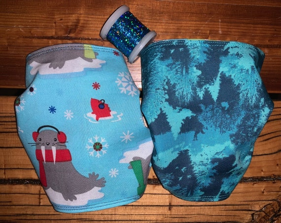 Reversible Mask, Happy Winter Walrus, Teal Winter Trees, Washable, Holographic Thread, Assistedly Made in Montana by Special Olympians =)