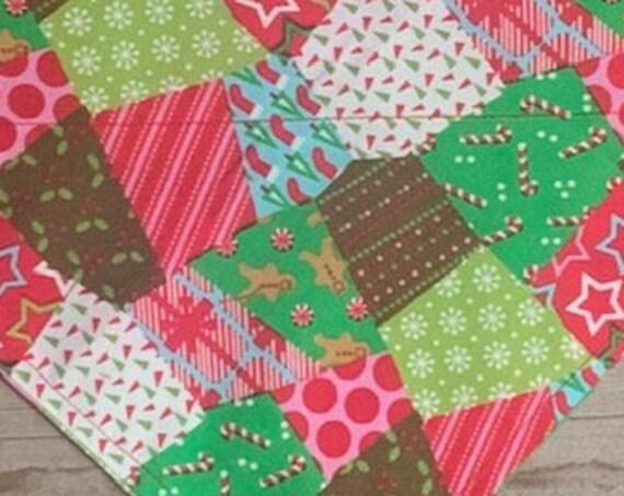 Holiday Pet Bandana, Dog Bandana, Thru Collar Bandana, Made in Montana, Candy Canes, Dog Gift, Pet Gift, Scrap Happy, Patchwork Pattern