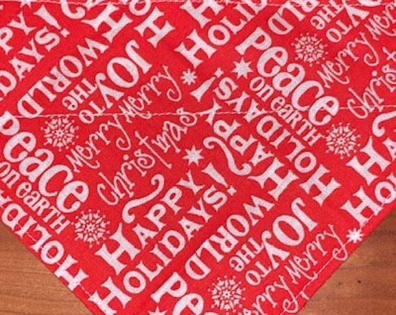 Jolly Holiday Bandana for Small Dogs, Thru Collar Bandana Made in Montana, Pet Christmas Gift, Assistedly Made by Special Olympians