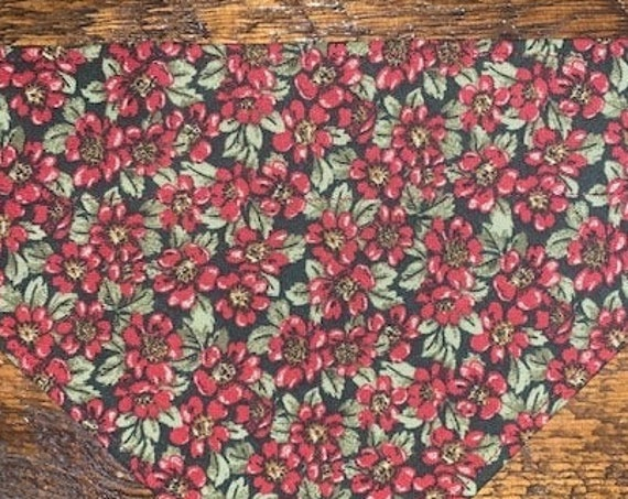 Poinsettas Pet Bandana, MEDIUMS ONLY, Thru Collar Bandana, Dog Gift, Made in Montana, Ready to Ship! Assistedly Made by Special Olympians