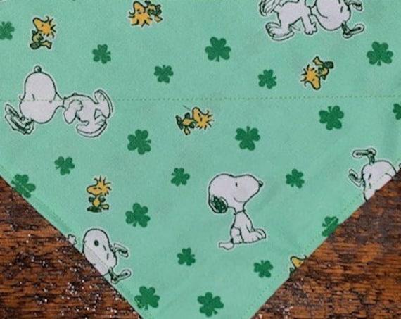 Snoopy Bandana, Montana Made, Peanuts Bandana, Thru Collar Bandana, Lucky Dog Gift, Fun Pet Bandana, Clovers, Ready to Ship!