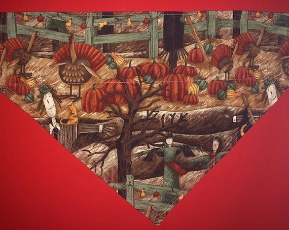 Pet Bandana Assistedly Made by Special Olympians, Pumpkin Patch, Thanksgiving, Collar Slips Thru Bandana, Montana Made, Hayfield, Scarecrows