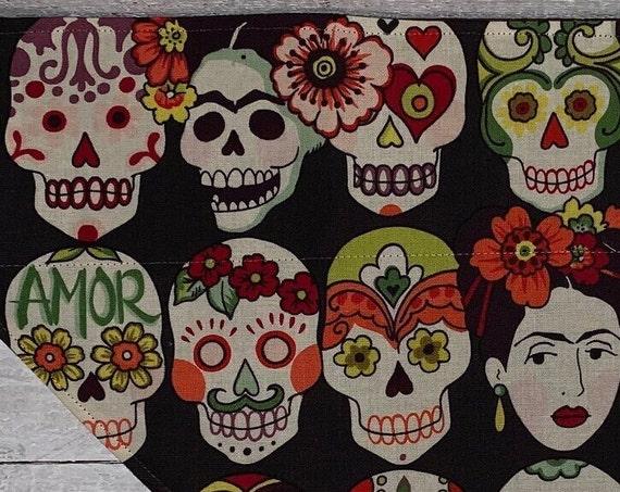 Frida Kahlo Inspired Pet Bandana, Day of the Dead, Halloween Pet Costume, Collar Slips Thru, Reversible, Made in Montana, Free Shipping