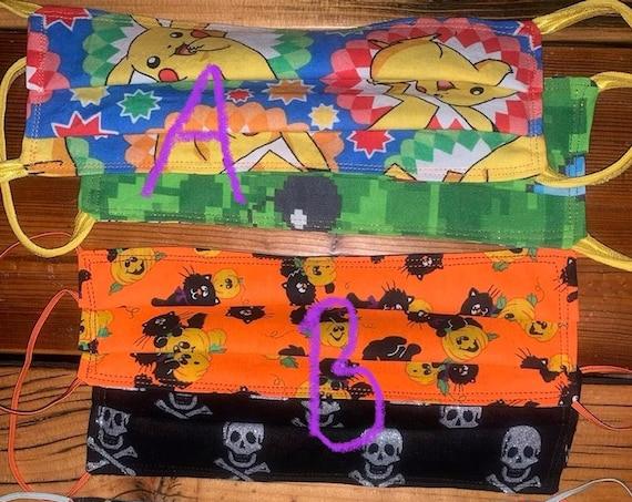 Halloween Face Mask, Reversible, Teenager, Adult, Gaming, Pokemon, Pikachu, Minecraft, Black Cat, Pumpkin, Jolly Roger Pirate, Wizard of Oz