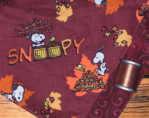 Reversible Snoopy Pet Bandana, Assistedly Produced by Special Olympic Athletes, Thanksgiving Family Photo, Collar Fits Inside, Free Shipping