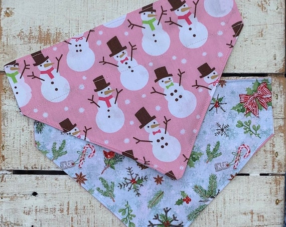 Snowman Pet Bandana, Reversible to Winter Design, Made in Montana Assistedly by Special Olympians, for Dogs or Cats, Collar Slips Thru