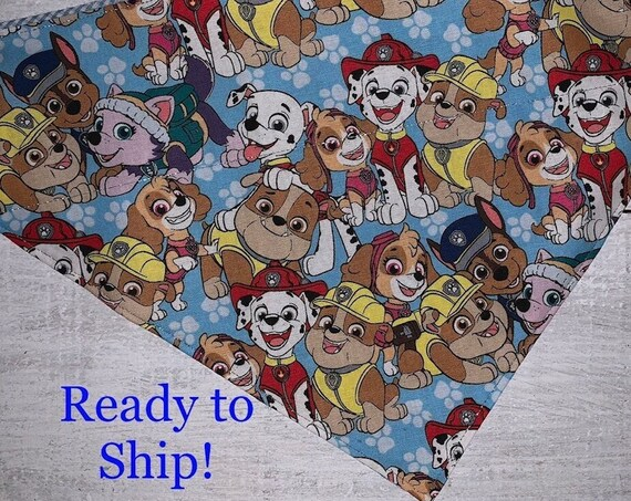 Paw Patrol Pet Bandana, Holographic Thread, Collar Slips Thru, Reversible, Free Shipping, Made in Montana, Ready to Ship!