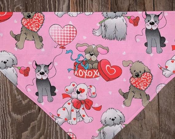 Thru Collar Pet Bandana, Special Needs Project, Made in Montana, Valentine Dog Cat Gift, I Heart My Dog, Love My Cat, XOXO Puppy Love Hearts