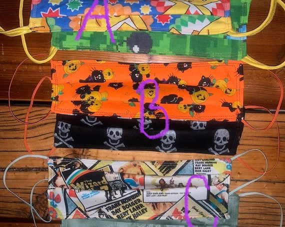 Clearance Face Masks, Reversible, Teenager, Adult, Gaming, Pokemon, Pikachu, Minecraft, Black Cat, Pumpkin, Jolly Roger Pirate, Wizard of Oz
