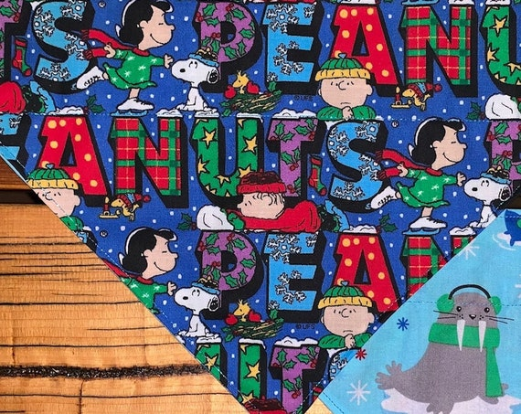 Peanuts Pet Bandana, Reversible, Happy Winter Walrus, Assistedly Produced by Special Olympic Athletes, for Dog or Cat, Collar Slides Inside