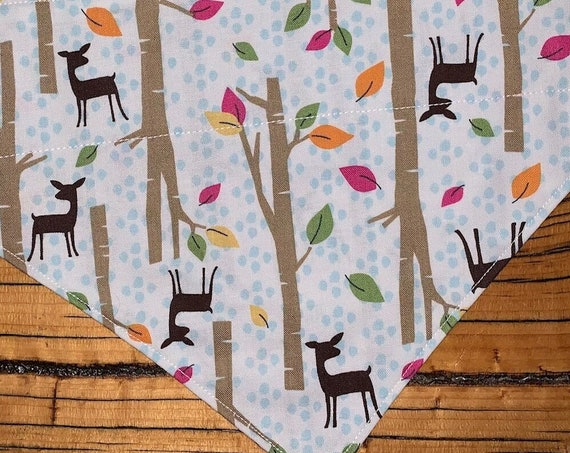 Pretty Autumn Dog Bandana with Deer and Falling Leaves, Collar Slides Thru the Top, Made in Montana Ready to Ship, Free Trackable Shipping!