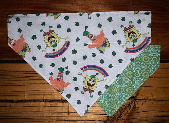 Spongebob REVERSIBLE Pet Bandana, St Patrick's Day Gift for Dog or Cat, Ready to Ship, Made in Montana by Young Adults with Special Needs