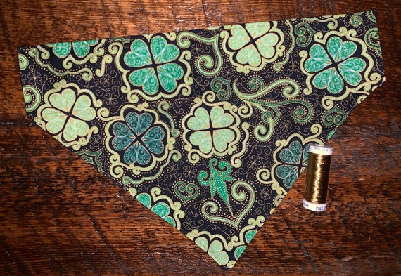 Pet Bandana, Special Needs Project, St Patrick's, Gold Metallic Thread, Dog Cat Ferret Gift, Thru Collar, Made in Montana, Ready to Ship