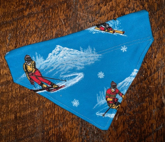Winter Pet Bandana, Special Olympian Project, Montana Made, Dog Cat Gift, Thru Collar Bandana, Alpine Downhill Skiing, Glacier National Park