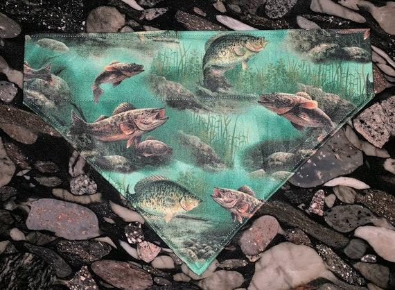 Fishing Pet Bandana, Dog Bandana, Cat Bandana, Thru Collar Bandana, Montana Made, Catfish, Camping Pet, Bass, Trout, River, Gone Fishin,