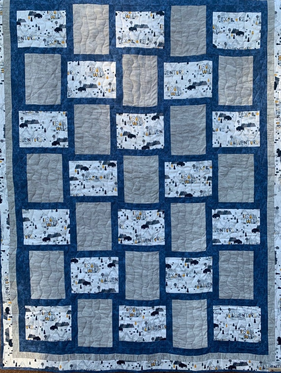 Mountain Adventure Lap Quilt, Buffalo, Explorers, National Park, 45 x 60, Made in Montana, Packaged & Shipped by Special Olympic Athletes!
