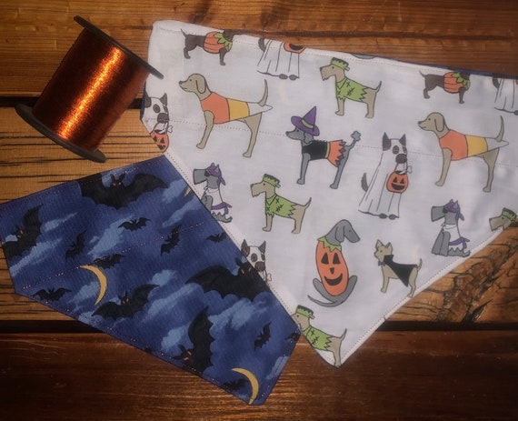 Reversible Pet Bandana for Halloween, 2-Sided, Dogs in Costumes, Twilight Bats, Free Shipping, Assistedly Made by Special Olympians =)