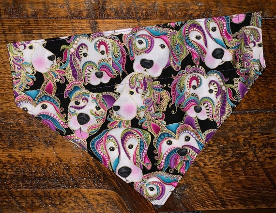Beautiful Pet Bandana, Stunning Metallic Detail, Made in Montana, Dog Gift, Pet Scarf, Mardi Gras, Christmas, Pet Couture, Ready to Ship!
