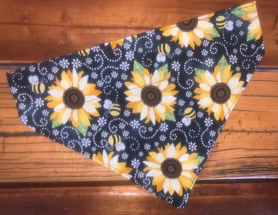 Sunflower Pet Bandana, LIMITED SIZES LEFT, Collar Fits Inside, for Dog or Cat, Bumblebees Buzzing, Assistedly Made by Special Olympians