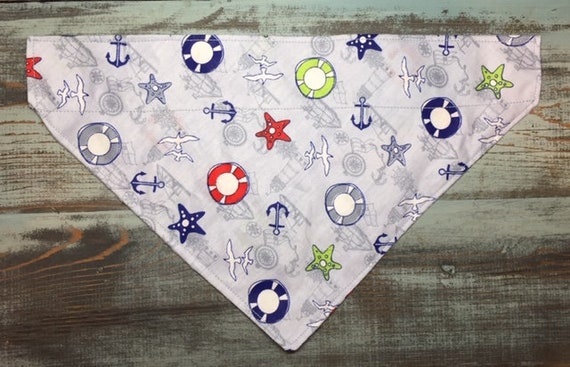 Nautical Dog Bandana, LAST ONE, Collar Slips Thru the Top, Pet Gift Ready to Ship, Assistedly Made by Special Olympians in Montana