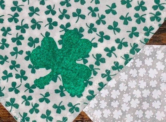 Reversible Lucky Pet Bandana, Assistedly Produced by Special Olympians, Made in Montana, Shamrock Clovers, Collar Slips Thru, Ready to Ship!