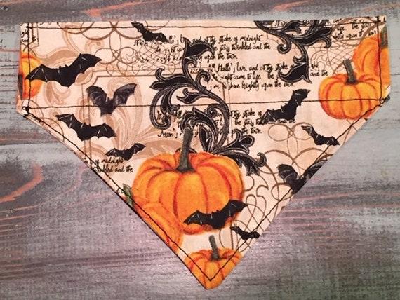 Autumn Pet Bandana, Edgar Allan Poe, Victorian Halloween Bandana, Dog Cat Gift, Collar Slips Easily Thru, Pumpkins Bats Calligraphy