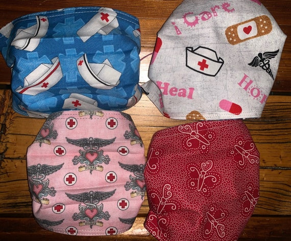 4Pack Reversible Nurse Masks with Free Trackable Shipping, Washable Cotton, for Medical Personnel, Assistedly Processed by Special Olympians