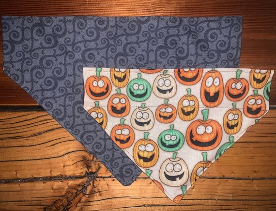 Reversible Dog Bandana, 2-Sided Silly Pumpkins & Mod Black, Limited Sizes, Free Shipping, Made in Montana Assistedly by Special Olympians