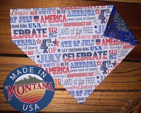 4th of July Dog Bandana, Reversible Patriotic Bandana, Collar Slides Thru, Ready to Ship, Assistedly Made by Special Olympic Athletes
