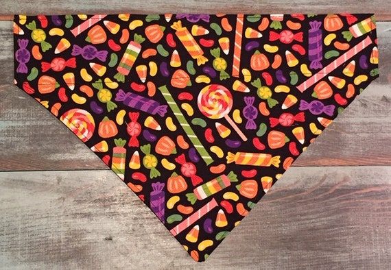 Candy Pet Bandana, Assistedly Made by Young Adults with Special Needs, Dog Cat Thru Collar Bandana, Lollipops Jelly Beans Halloween Treats