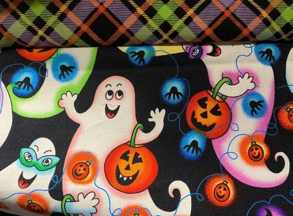 Happy Ghosts Reversible Pet Bandana, Halloween Plaid, Collar Slides Thru, for Dog Cat Ferret Guinea Pig, Made in Montana, Free Shipping!
