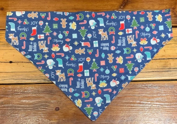 Christmas Pet Bandana, Collar Slips In, Great for Pet Photos! Toasty Warm Flannel for Pets, Made in Montana Assistedly by Special Olympians